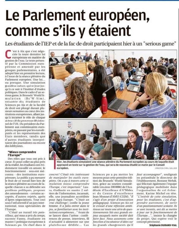 Etudiants: une reconnaissance largement méritée de votre travail, la Provence 15/02/2019