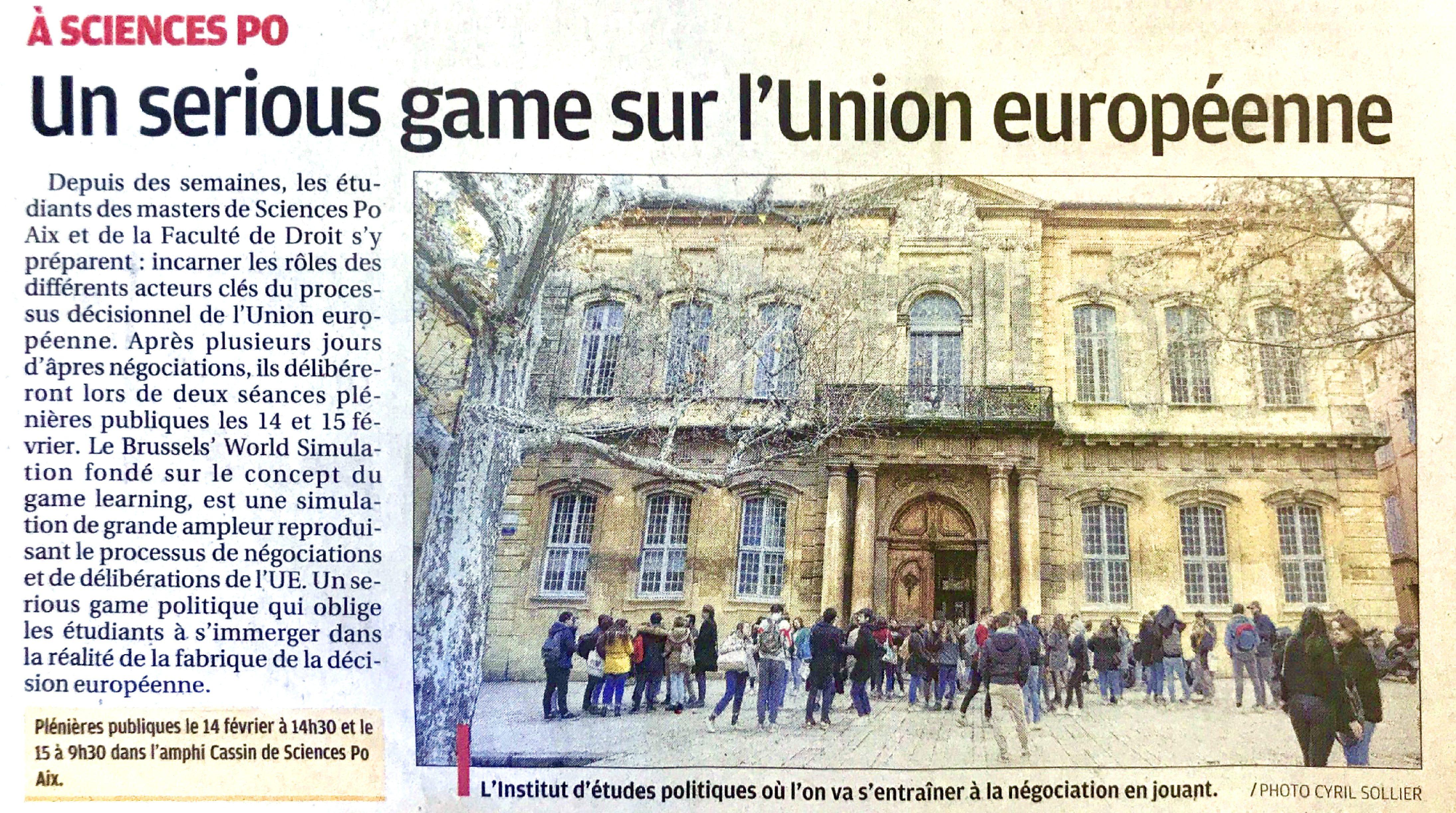 Le Serious Game Bs'W de l'IEP d'Aix-en-Provence fait sa pub!